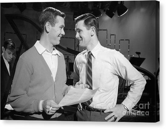 Johnny Carson Canvas Print - Johnny Carson With His Brother Dick Carson 1963 by The Harrington Collection