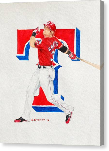 Josh Hamilton Canvas Print - Josh Hamilton - Texas Rangers by David Straitiff