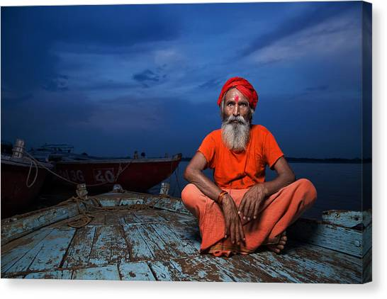 Ganges Canvas Print - Journey Of Life by Fadhel Almutaghawi
