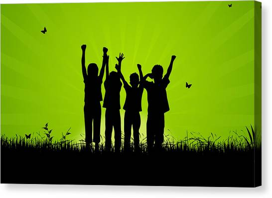 Trampoline Canvas Print - Jumping Kids by Aged Pixel