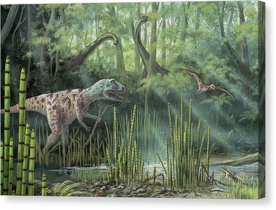Pterodactyls Canvas Print - Jurassic Life by Richard Bizley