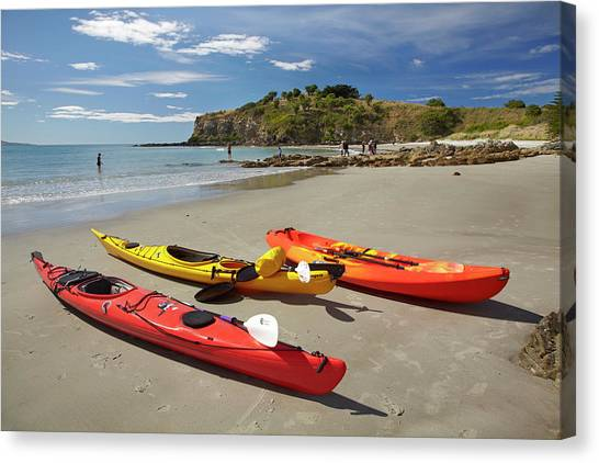 Kayaks Canvas Print - Kayaks On Beach Near Doctors Point by David Wall