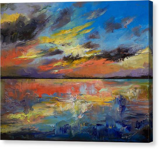 Tropical Sunset Canvas Print - Key West Florida Sunset by Michael Creese