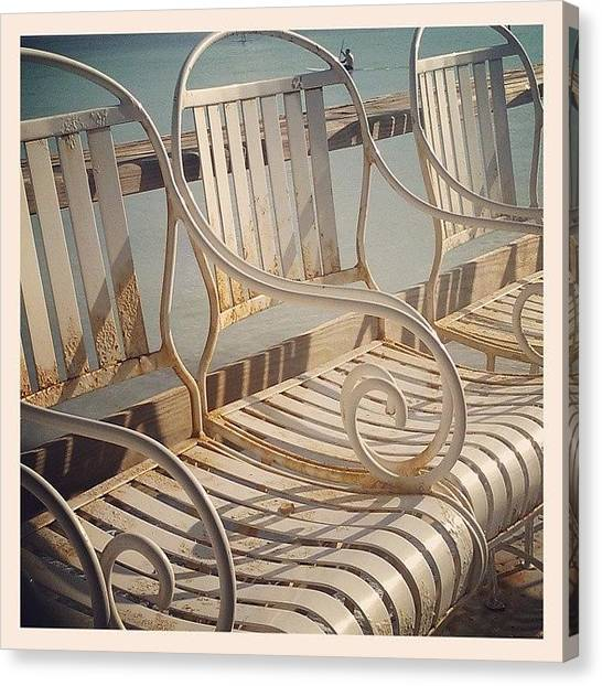 Decorative Canvas Print - Beach Bar Chairs by Dani Hoy