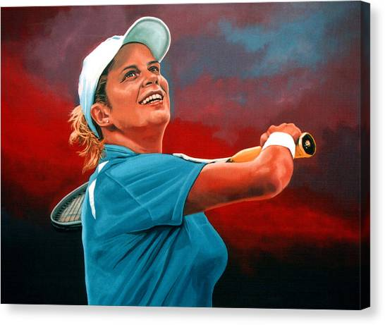 Tennis Players Canvas Print - Kim Clijsters by Paul Meijering