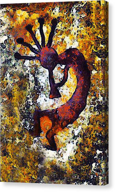 Kokopelli Canvas Print - Kokopelli The Flute Player by Barbara Snyder