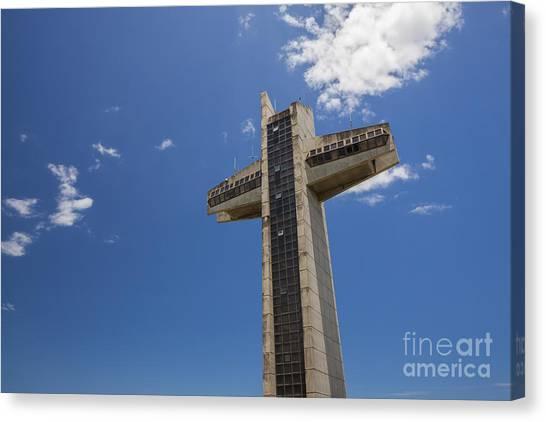 Canvas Print featuring the photograph La Cruz Del Vigia Against Blue Sky In Ponce Puerto Rico by Bryan Mullennix