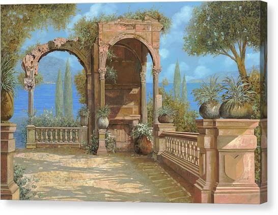 Roman Art Canvas Print - La Terrazza Sul Lago by Guido Borelli