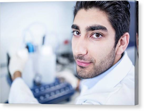 Lab Assistant Using Equipment Canvas Print by Science Photo Library