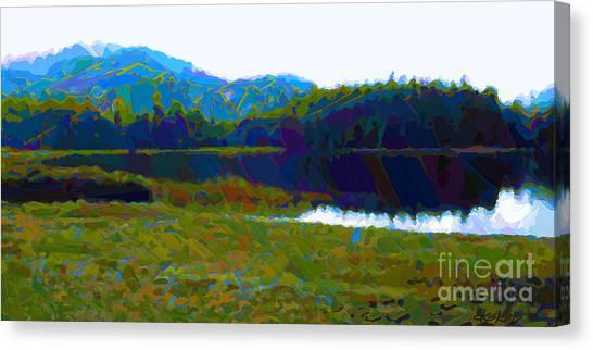Lakeside Awakes Canvas Print by Dorinda K Skains
