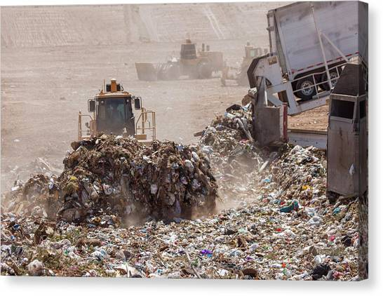 Bulldozers Canvas Print - Landfill Waste Disposal Site by Peter Menzel