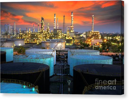 Landscape Of Oil Refinery Industry  Canvas Print