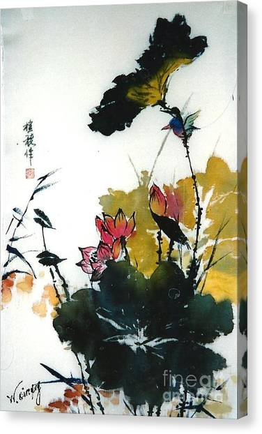 Chinese Flower Brush Painting Canvas Print