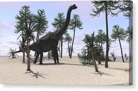 Brachiosaurus Canvas Print - Large Brachiosaurus In A Tropical by Kostyantyn Ivanyshen