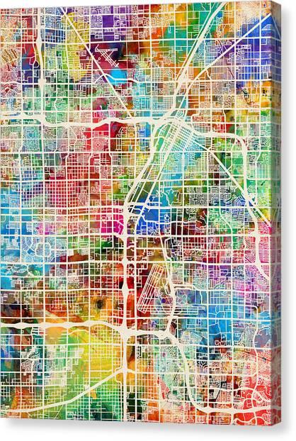 Nevada Canvas Print - Las Vegas City Street Map by Michael Tompsett