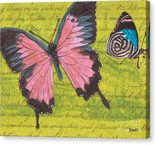 Distressed Canvas Print - Le Papillon 2 by Debbie DeWitt