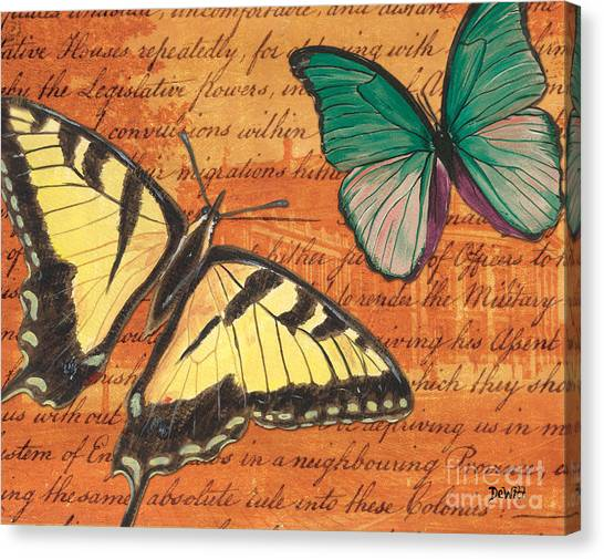 Yellow Butterfly Canvas Print - Le Papillon 3 by Debbie DeWitt