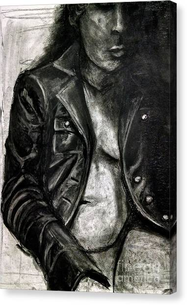 Canvas Print featuring the drawing Leather Jacket by Gabrielle Wilson-Sealy