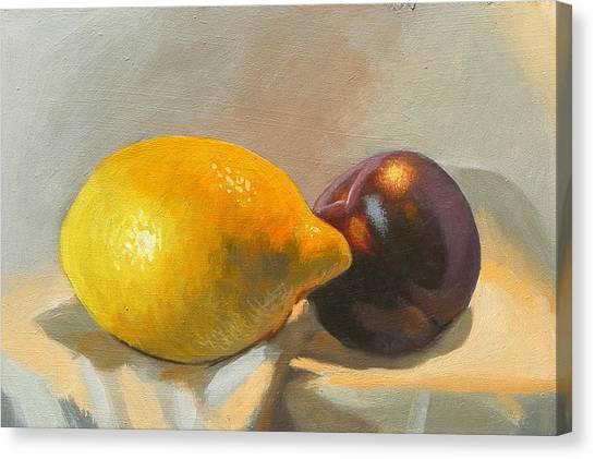 Lemon And Plum Canvas Print by Peter Orrock