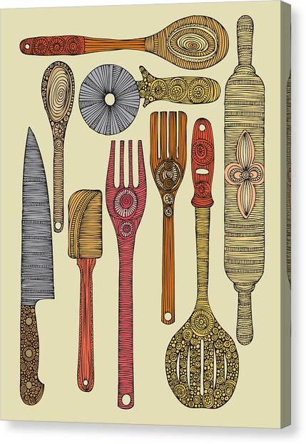 Kitchen Utensils Canvas Print - Lets Cook by Valentina Ramos