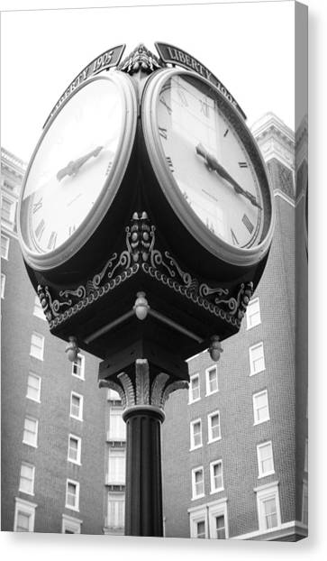 Canvas Print featuring the photograph Liberty Mutual Clock by Kelly Hazel