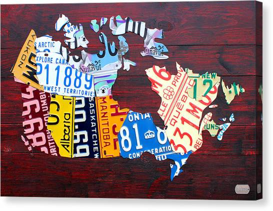 Quebec Canvas Print - License Plate Map Of Canada by Design Turnpike