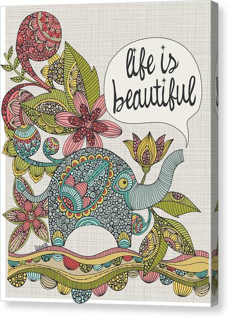 Elephants Canvas Print - Life Is Beautiful by Valentina