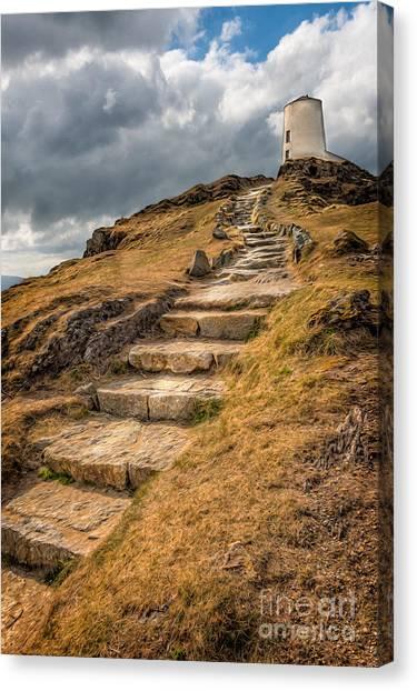 Beach Cliffs Canvas Print - Lighthouse Steps by Adrian Evans