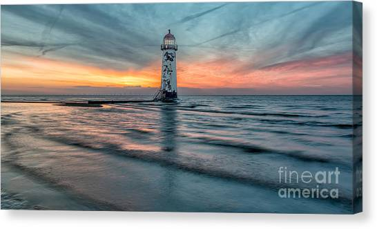 Wind Farms Canvas Print - Lighthouse Sunset by Adrian Evans