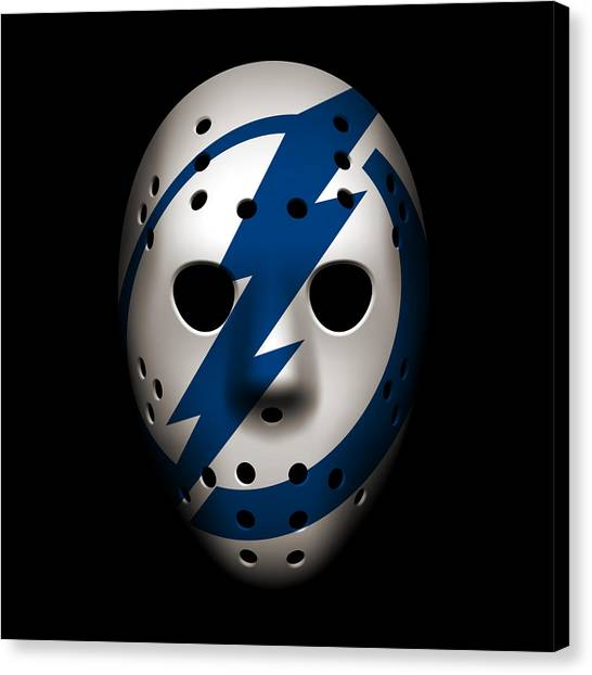 Tampa Bay Lightning Canvas Print - Lightning Goalie Mask by Joe Hamilton