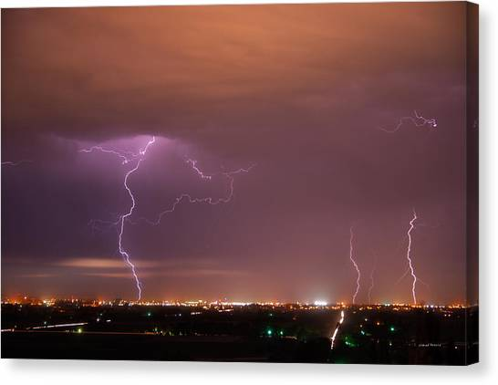 Lightning Storm Canvas Print by Leland D Howard