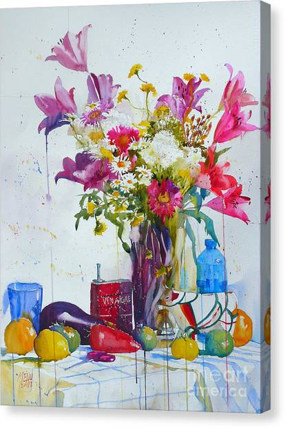 Lilies And Piggy Bank Canvas Print by Andre MEHU
