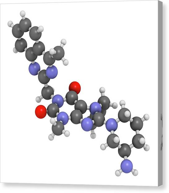 Diabetes Canvas Print - Linagliptin Diabetes Drug Molecule by Molekuul