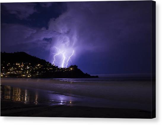 Lightning Over The Ocean Canvas Print