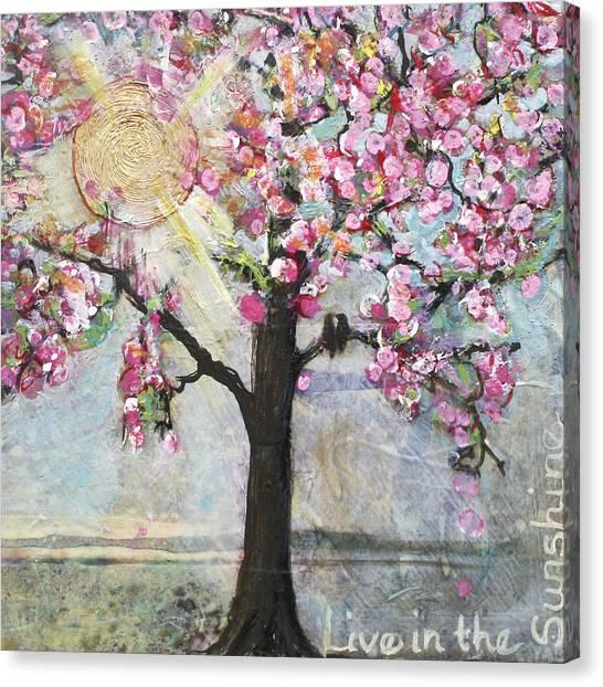 Lovebirds Canvas Print - Live In The Sunshine by Blenda Studio