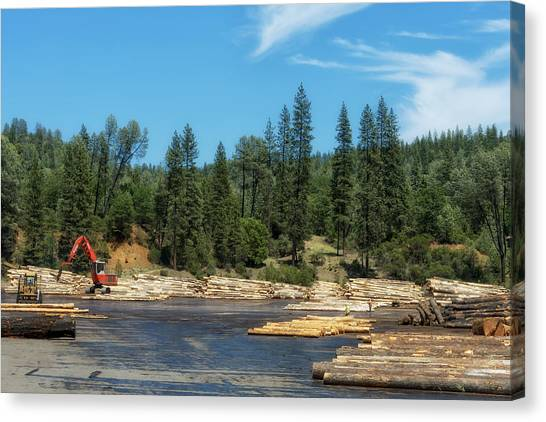 Forklifts Canvas Print - Logging In Northern California by Mountain Dreams