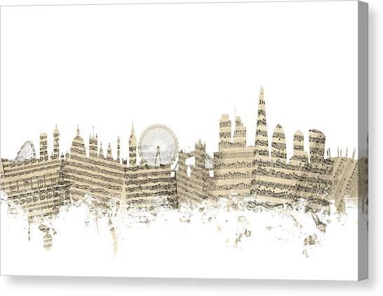 London Skyline Canvas Print - London England Skyline Sheet Music Cityscape by Michael Tompsett