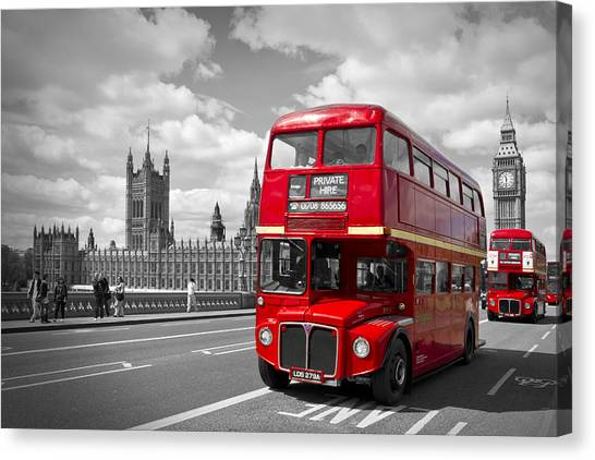 London Canvas Print - London - Houses Of Parliament And Red Buses by Melanie Viola