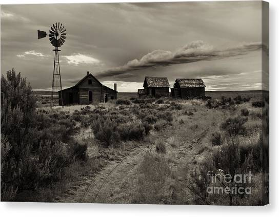Homestead Canvas Print - Lonely House On The Prairie by Mike  Dawson