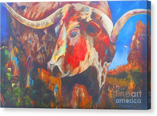 Longhorn Bull Business Canvas Print by Karen Kennedy Chatham