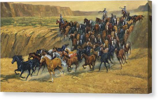 Wild Horse Canvas Print - Wild Horse Round Up by Don  Langeneckert