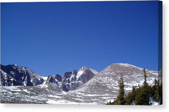 Longs Peak And Blue Sky Canvas Print