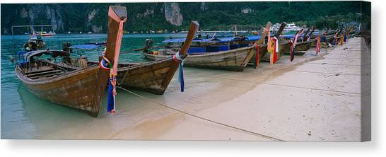Phi Phi Island Canvas Print - Longtail Boats Moored On The Beach by Panoramic Images