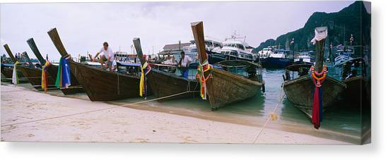 Phi Phi Island Canvas Print - Longtail Boats Moored On The Beach, Ton by Panoramic Images