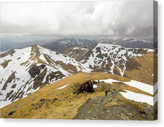 Snow Melt Canvas Print - Looking Towards Beinn Ghlas by Ashley Cooper