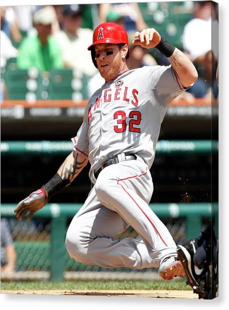 Josh Hamilton Canvas Print - Los Angeles Angels Of Anaheim V Detroit by Duane Burleson