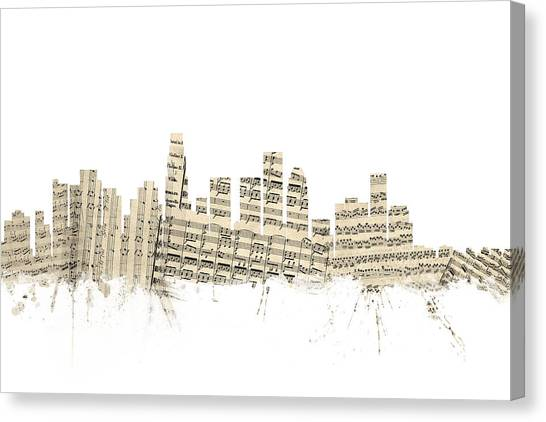 Los Angeles Skyline Canvas Print - Los Angeles California Skyline Sheet Music Cityscape by Michael Tompsett