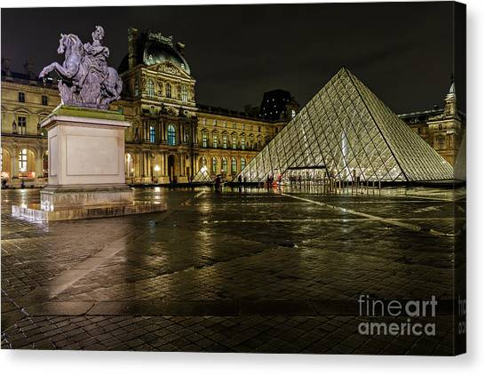 Louvre Pyramid And Pavillon Richelieu Canvas Print by Rostislav Bychkov