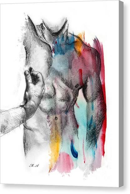 Bodybuilder Canvas Print - Love Colors 5 by Mark Ashkenazi