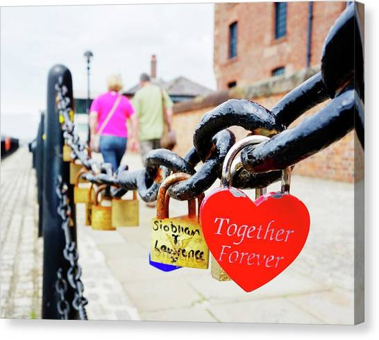 Chain Link Fence Canvas Print - Love Locks by Cordelia Molloy